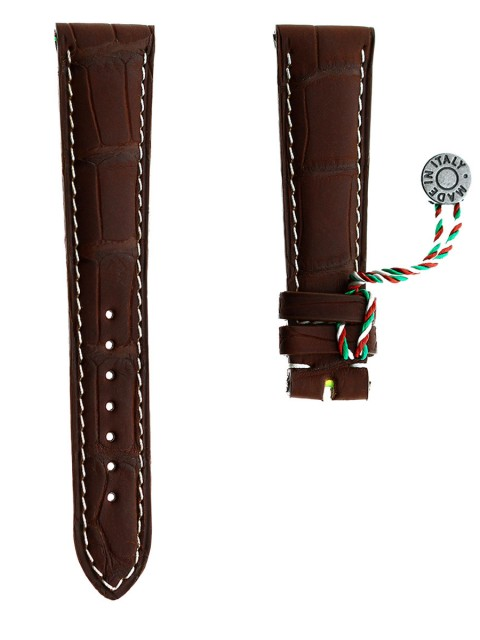 brown rubberized alligator leather watch strap visconti milano made italy patek philippe style 20mm
