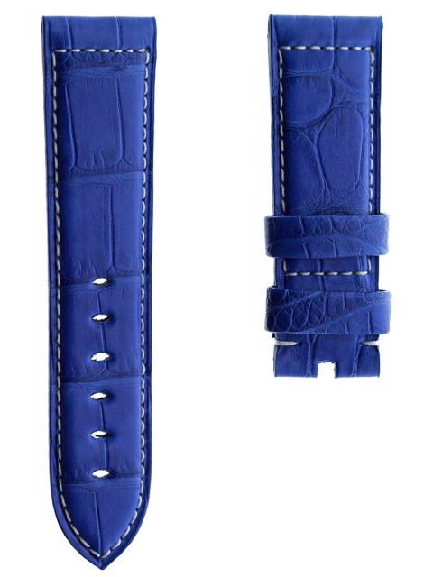 custom alligator leather blue lapis watch strap 24mm panerai style replacement made italy