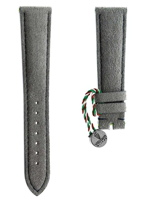grey alcantara watch strap visconti milano made italy patek philippe style