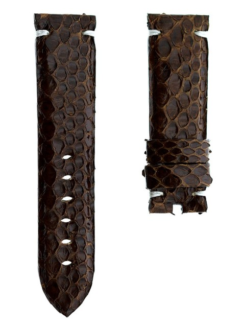 brown exotic python leather watch strap band replacement panerai 24mm made italy visconti milano