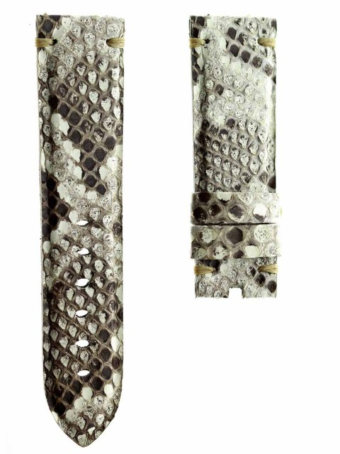 beige exotic python leather watch strap band replacement panerai 24mm made italy visconti milano