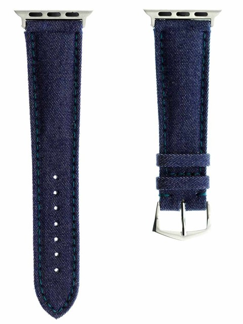 blue denim watch strap for apple watch 38mm series 1 & 2 replacement band indigo alcantara lining