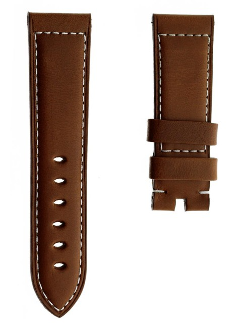 panerai 24mm watch band strap replacement calf italian leather brown tanned