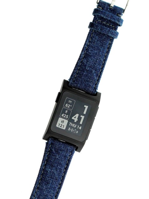 pebble2 smart watch band 22mm push pins handmade in italy japanese denim selvedge kurabo vegan alcantara lining
